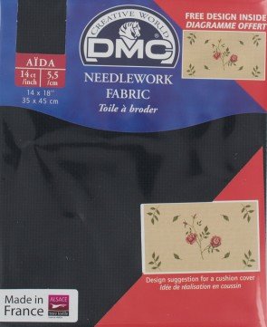 14 Count Black Aida Fabric 14x18 Inches (35x45cm) - 310 - DC27/10