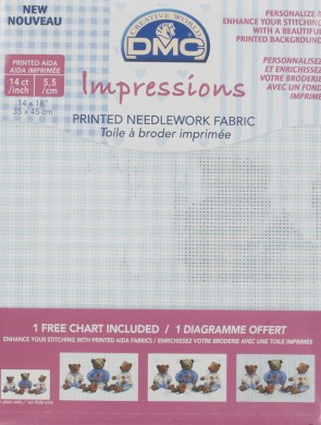 14 Count Impressions Aida 14x18 Inches (35x45cm) - Blue Checks - DC27B
