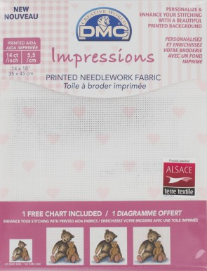14 Count Impressions Aida 14x18 Inches (35x45cm) - Pink Hearts - DC27C